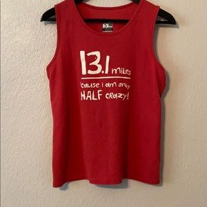 One more mile half marathon muscle top size small